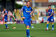 AFC Wimbledon defender Barry Fuller (2) looking on during the EFL Sky Bet League 1 match between AFC Wimbledon and Doncaster Rovers at the Cherry Red Records Stadium, Kingston, England on 26 August 2017. Photo by Matthew Redman.