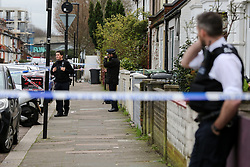 © Licensed to London News Pictures. 31/01/2020. London, UK. The crime scene on Downsett Road in Tottenham. A man is in hospital after he was stabbed on Downsett Road in north London this morning. His condition is not known. A man has been arrested on suspicion of grievous bodily harm. Photo credit: Dinendra Haria/LNP