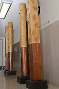Woodworking artist Fletcher Cox's columns outside the MAC Commission offices in the Woolfolk Building in Jackson MS. The columns are part of the Governor's Mansion Restoration Project. Photo © Suzi Altman