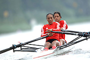 Amsterdam, HOLLAND, CUB W2X Bow Yurisneidy TORRES and Maira GONZALEZ BORROTO at the start, 2007 FISA World Cup Rd 2 at the Bosbaan Regatta Rowing Course. 23.06.2007[Mandatory Credit: Peter Spurrier/Intersport-images]..... , Rowing Course: Bosbaan Rowing Course, Amsterdam, NETHERLANDS
