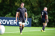 Sam Warburton , the Wales rugby team captain looks on. RWC Wales rugby team training at the Vale Resort, Hensol near Cardiff, South Wales on Wed 16th Sept 2015.<br /> pic by Andrew Orchard, Andrew Orchard sports photography.