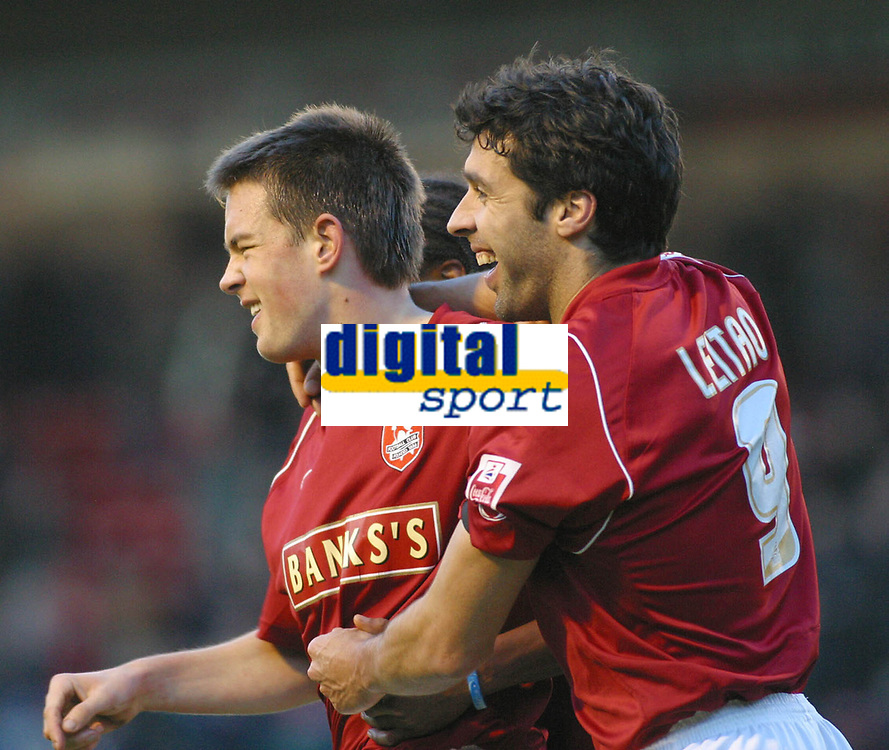 Photo: Dave Linney.<br />Walsall v Rotherham United. Coca Cola League 1.<br />26/11/2005.Matty Fryatt(Walsall) is congratulated by Jorge Leitao after scoring his second goal for Walsall.