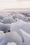 Stranded icebergs on the beach at Jökulsárlón, Iceland