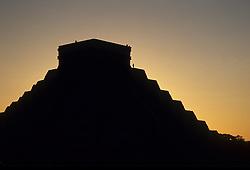 Mexico, Yucatan, Chichen Itza, El Castillo Pyramid at sunset