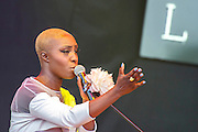 Laura Mvula plays the Pyramid Stagge. The 2013 Glastonbury Festival, Worthy Farm, Glastonbury. 29 June 2013.  © Guy Bell, guy@gbphotos.com, all rights reserved