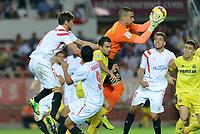 Villarreal's goalkeeper Asenjo stop a ballon during the match between Sevilla FC and Villarreal day 9 spanish  BBVA League 2014-2015 day 5, played at Sanchez Pizjuan stadium in Seville, Spain. (PHOTO: CARLOS BOUZA / BOUZA PRESS / ALTER PHOTOS)