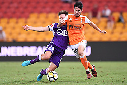 January 18, 2018 - Brisbane, QUEENSLAND, AUSTRALIA - Connor O'Toole of the Roar (#24, right) is tackled by Chris Harold of the Glory (#14) during the round seventeen Hyundai A-League match between the Brisbane Roar and the Perth Glory at Suncorp Stadium on January 18, 2018 in Brisbane, Australia. (Credit Image: © Albert Perez via ZUMA Wire)