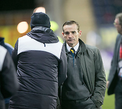 Alloa Athletic's manager Danny Lennon and Falkirk's manager Peter Houston at the end. <br /> Falkirk 5 v 0 Alloa Athletic, Scottish Championship game played at The Falkirk Stadium.