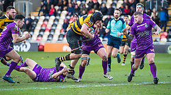 Newport's Alex Everett is tackled by Ebbw Vale's Dai Jones - Mandatory by-line: Craig Thomas/Replay images - 04/02/2018 - RUGBY - Rodney Parade - Newport, Wales - Newport v Ebbw Vale - Principality Premiership