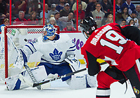 OTTAWA, ON - OCTOBER 21: Toronto Maple Leafs Goalie Frederik Andersen (31) can only watch as Ottawa Senators Center Derick Brassard (19) shot flies past him into the net for his second and the Senators forth goal of the night in the NHL game between the Ottawa Senators and the Toronto Maple Leafs on Oct. 21, 2017 at the Canadian Tire Centre in Ottawa, Ontario, Canada. (Photo by Steven Kingsman/Icon Sportswire)