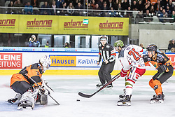 10.03.2019, Merkur Eisstadion, Graz, AUT, EBEL, Moser Medical Graz 99ers vs HCB Suedtirol Alperia, Platzierungsrunde, 54. Runde, im Bild v.l.: Simon Roenninger (Moser Medical Graz 99ers), Angelo Miceli (HCB Südtirol Alperia), Erik Kirchschlaeger (Moser Medical Graz 99ers) // during the Erste Bank Eishockey League 54th round match between Moser Medical Graz 99ers and HCB Suedtirol Alperia at the Merkur Eisstadion in Graz, Austria on 2019/03/10. EXPA Pictures © 2019, PhotoCredit: EXPA/ Dominik Angerer