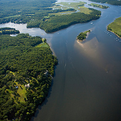 Confluence of the Eight Mile and Connecticut Rivers in Lyme, Connecticut.