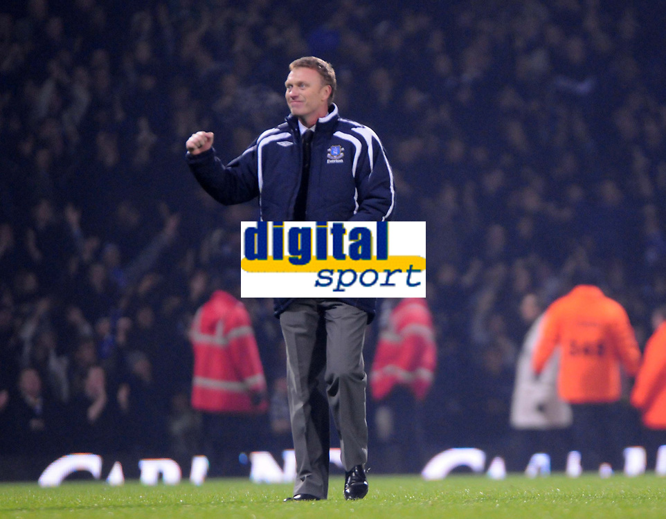 Photo: Tony Oudot/Sportsbeat Images.<br /> West Ham United v Everton. Carling Cup. 12/12/2007.<br /> David Moyes and the Everton bench celebrate the winning goal