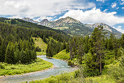 The Greys River as it winds below the Salt River Range of Western Wyoming.