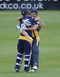 Graham Wagg of Glamorgan congratulates Jacques Rudolph on scoring a century - Photo mandatory by-line: Dougie Allward/JMP - Mobile: 07966 386802 - 12/06/2015 - SPORT - Cricket - Bristol - County Ground - Gloucestershire v Glamorgan - Natwest T20 Blast