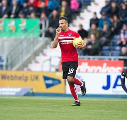 Dunfermline's Farid El Alagui cele scoring their goal. Falkirk 2 v 1 Dunfermline, Scottish Championship game played 15/10/2016, at The Falkirk Stadium.