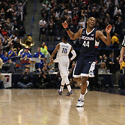 Rodney Purvis, UConn, celebrates his sides victory at the end of the game during the UConn Huskies Vs Tulsa Semi Final game at the American Athletic Conference Men's College Basketball Championships 2015 at the XL Center, Hartford, Connecticut, USA. 14th March 2015. Photo Tim Clayton