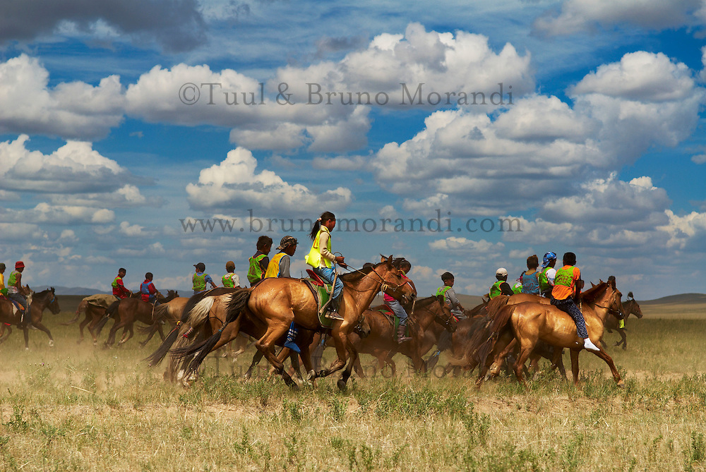 Mongolie, Province de Dornod, Course de chevaux pour la fete du Naadam de Bayan Uul // Mongolia, Dornod province, Horses race for the Naadam festival at Bayan Uul
