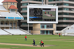 The scoreboard shows 100 balls left to bowl during the 100 Ball Trial match at Trent Bridge, Nottingham.