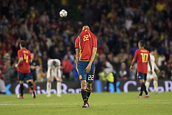 October 15, 2018 - Seville, Spain - DANI CEBALLOS of Spain (C) laments after the finishing of the UEFA Nations League Group A4 soccer match between Spain and England at the Benito Villamarin Stadium (Credit Image: © Daniel Gonzalez Acuna/ZUMA Wire)