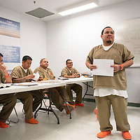 Pernall Begay speaks at his graduation after receiving a  certificate for completing the substance abuse treatment program at the McKinley County Adult Detention Center, Thursday, Feb. 7.