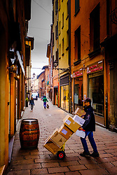 Early morning delivery in Bologna, Italy<br /> <br /> (c) Andrew Wilson | Edinburgh Elite media