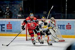 08.01.2017, Ice Rink, Znojmo, CZE, EBEL, HC Orli Znojmo vs Dornbirner Eishockey Club, 41. Runde, im Bild v.l. Jan Lattner (HC Orli Znojmo) Brock McBride (Dornbirner) Florian Hardy (Dornbirner) // during the Erste Bank Icehockey League 41th round match between HC Orli Znojmo and Dornbirner Eishockey Club at the Ice Rink in Znojmo, Czech Republic on 2017/01/08. EXPA Pictures © 2017, PhotoCredit: EXPA/ Rostislav Pfeffer