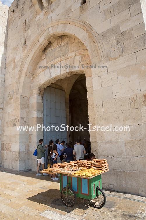Bagel peddler at Jaffa Gate at the Old City of Jerusalem