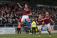 Northampton Town Striker John Marquis celebrates  during the Sky Bet League 2 match between Northampton Town and Cambridge United at Sixfields Stadium, Northampton, England on 12 March 2016. Photo by Dennis Goodwin.
