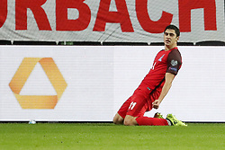 KAISERSLAUTERN, Oct. 9, 2017  Ramil Sheydaev of Azerbaijan celebrates after scoring during the FIFA 2018 World Cup Qualifiers Group C match between Germany and Azerbaijan at Fritz Walter Stadium in Kaiserslautern, Germany, on Oct. 8, 2017. Germany won 5-1. (Credit Image: © Ulrich Hufnagel/Xinhua via ZUMA Wire)