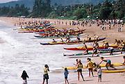 Outrigger Canoe Race, Wailua Beach, Kauai, Hawaii