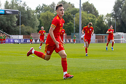 NEWPORT, WALES - Friday, September 3, 2021: Wales' Luke Harris celebrates after scoring the first goal during an International Friendly Challenge match between Wales Under-18's and England Under-18's at Spytty Park. (Pic by David Rawcliffe/Propaganda)