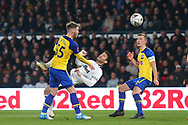 Derby County forward David Nugent (28) with an overhead kick during the The FA Cup 3rd round match between Derby County and Southampton at the Pride Park, Derby, England on 5 January 2019.