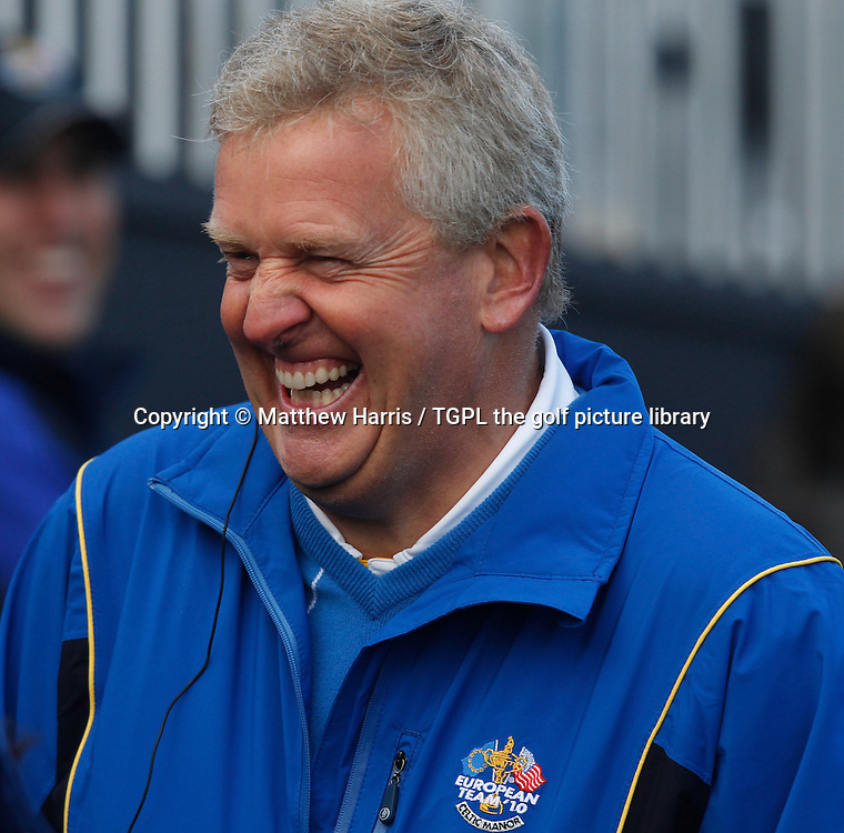 All smiles on the first tee for captain Colin MONTGOMERIE (EUR) Session Four_Singles during Ryder Cup 2010,Celtic Manor,Newport,Wales.