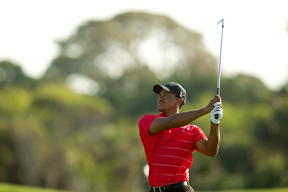 KIAWAH ISLAND, SC - AUGUST 12:  Tiger Woods plays an approach shot during the third round of the 2012 PGA Championship at The Ocean Course on Kiawah Island, South Carolina on August 12, 2012. (Photograph ©2012 Darren Carroll) *** Local Caption *** Tiger Woods