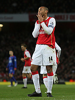 Photo: Paul Thomas.<br /> Arsenal v Manchester United. The Barclays Premiership. 21/01/2007.<br /> <br /> Thierry Henry of Arsenal shows his dejection after missing a goal chance.