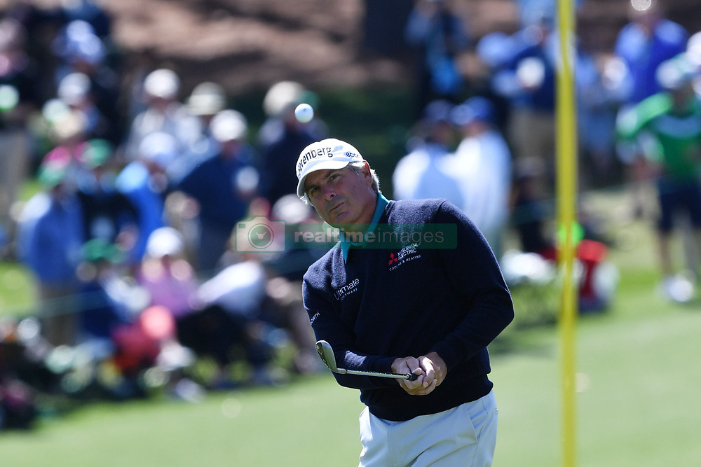 Fred Couples chips onto the 9th green during the second round of the Masters Tournament at Augusta National Golf Club in Augusta, Ga., on Friday, April 7, 2017. (Photo by Brant Sanderlin/Atlanta Journal-Constitution/TNS)  *** Please Use Credit from Credit Field ***