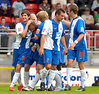 Photo: Ed Godden/Sportsbeat Images.<br /> Leyton Orient v Hartlepool United. Coca Cola League 1. 22/09/2007. Ian Moore, celebrates scoring the opening goal with his team mates.