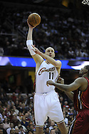 Zydrunas Ilgauskas of the Cleveland .The Miami Heat lost to the host Cleveland Cavaliers 84-76 at Quicken Loans Arena, April 13, 2008.