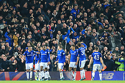 5th January 2018 - FA Cup - 3rd Round - Liverpool v Everton - Everton fans go mad as they celebrate their team's equaliser - Photo: Simon Stacpoole / Offside.