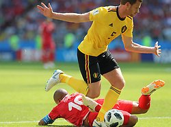MOSCOW, June 23, 2018  Jan Vertonghen (top) of Belgium vies with Wahbi Khazri of Tunisia during the 2018 FIFA World Cup Group G match between Belgium and Tunisia in Moscow, Russia, June 23, 2018. (Credit Image: © Yang Lei/Xinhua via ZUMA Wire)