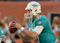 August 23rd, 2014, Miami Dolphins quarterback Ryan Tannehill (17) during a game between the Miami Dolphins and the Dallas Cowboys at Sun Life Stadium in Miami Garden, FL NFL American Football Herren USA AUG 23 Preseason - Cowboys at Dolphins PUBLICATIONxINxGERxSUIxAUTxHUNxRUSxSWExNORxONLY Icon140823030<br />