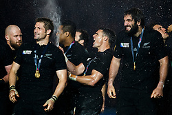 New Zealand Fly-Half Daniel Carter celebrates with his team after New Zealand win the match 34-17 to become 2015 World Cup Champions - Mandatory byline: Rogan Thomson/JMP - 07966 386802 - 31/10/2015 - RUGBY UNION - Twickenham Stadium - London, England - New Zealand v Australia - Rugby World Cup 2015 FINAL.