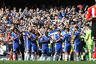Chelsea players form a guard of honour for Chelsea Captain John Terry (2nd left)  as he leaves the field of play substituted in the 26th minute .   Premier league match, Chelsea v Sunderland at Stamford Bridge in London on Sunday 21st May 2017.<br /> pic by Steffan Bowen,  Andrew Orchard sports photography.