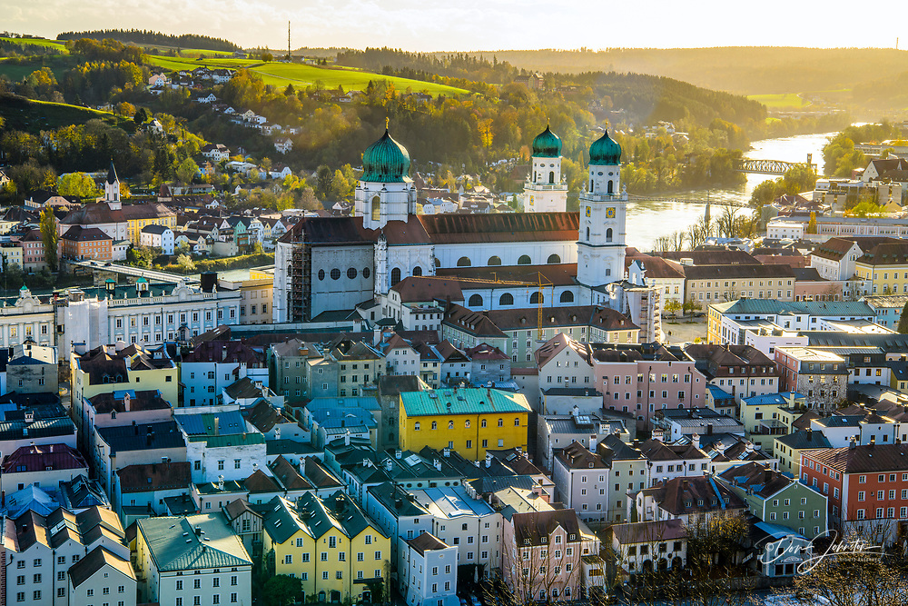 City of Passu from the fortress Veste Oberhaus, Passau, Bavaria, Germany