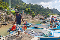 A fisherman unloading his catch in Seychelles