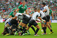 Romania's Valentin Calafeteanu picks loose ball up during the Rugby World Cup Pool D match between Ireland and Romania at Wembley Stadium, London, England on 27 September 2015. Photo by Phil Duncan.
