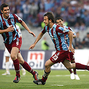 Trabzonspor's Remzi Giray KACAR (R) celebrate his goal with Ceyhun GULSELAM (L) during their Turkish superleague soccer match Trabzonspor between Denizlispor at the Avni Aker Stadium in Trabzon Turkey on Monday, 10 May 2010. Photo by TURKPIX