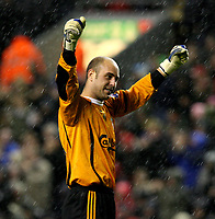 Photo: Paul Greenwood/Sportsbeat Images.<br />Liverpool v Bolton Wanderers. The FA Barclays Premiership. 02/12/2007.<br />Liverpool's Jose Reina celebrates victory