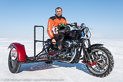 Vitaliy Timoshenko on his ice racer Harley-Davidson Sportster with sidecar at the Baikal Mile Ice Speed Festival. Maksimiha, Siberia, Russia. Friday, February 28, 2020. Photography ©2020 Michael Lichter.